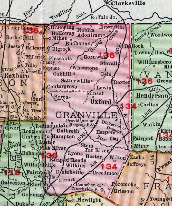 Granville County, North Carolina, 1911, Map, Rand McNally, Oxford ...