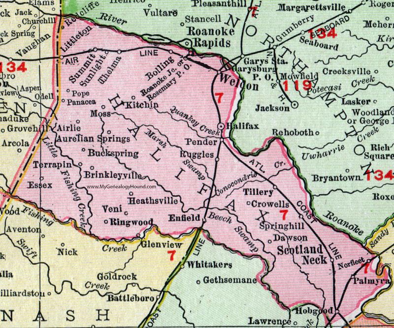 Halifax County North Carolina 1911 Map Rand Mcnally Scotland