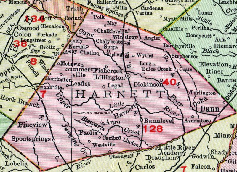Harnett County, North Carolina, 1911, Map, Rand McNally