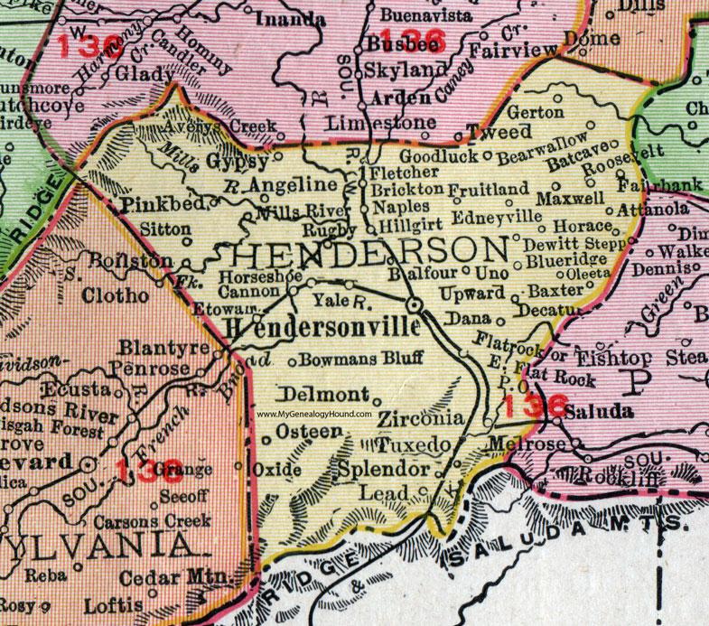 Henderson County North Carolina 1911 Map Rand McNally