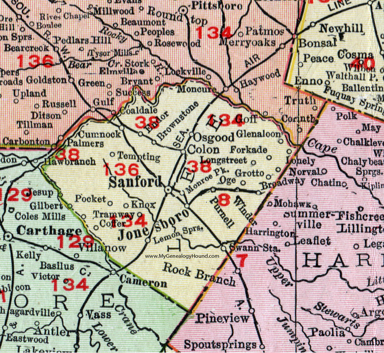Lee County, North Carolina, 1911, Map, Rand McNally, Sanford ... on warm mineral springs map, seminole towne center map, staten map, whispering pines map, goldenrod map, boothbay region map, frostproof map, southwest orlando map, port clyde map, lake mary map, scott lake map, bonifay map, silver valley map, west volusia map, lee vista map, ontario intl airport map, bennettsville map, thonotosassa map, central carolina community college map, rose city map,