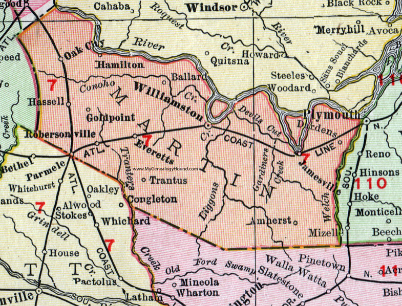 Hamilton Nc Map.Martin County North Carolina 1911 Map Rand Mcnally Williamston