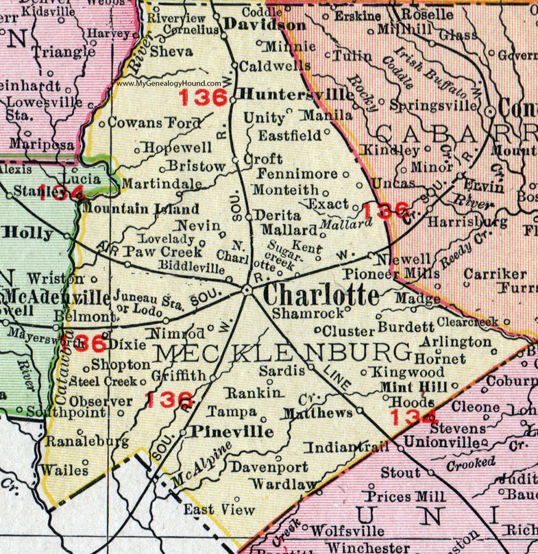 Mecklenburg County North Carolina 1911 Map Rand McNally