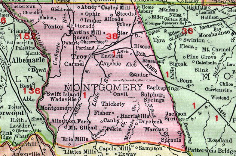 Montgomery County, North Carolina, 1911, Map, Rand McNally, Troy