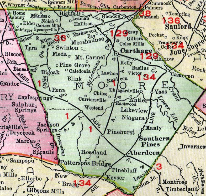 Moore County, North Carolina, 1911, Map, Rand McNally, Carthage