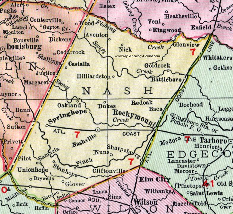Nash County, North Carolina, 1911, Map, Rand McNally, Nashville ...