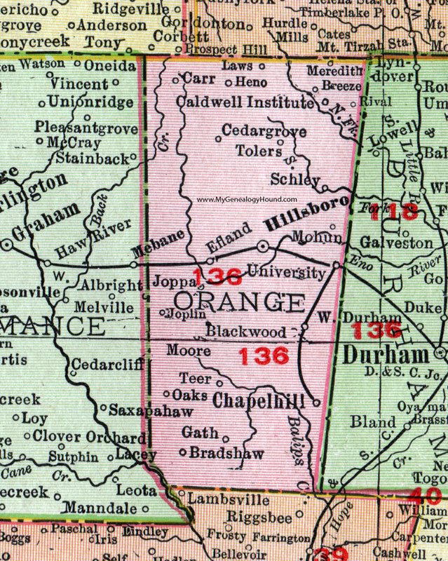 Orange County, North Carolina, 1911, Map, Rand McNally, Hillsborough ...