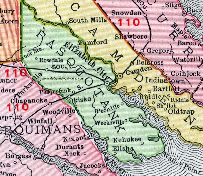 Pasquotank County, North Carolina, 1911, Map, Rand McNally