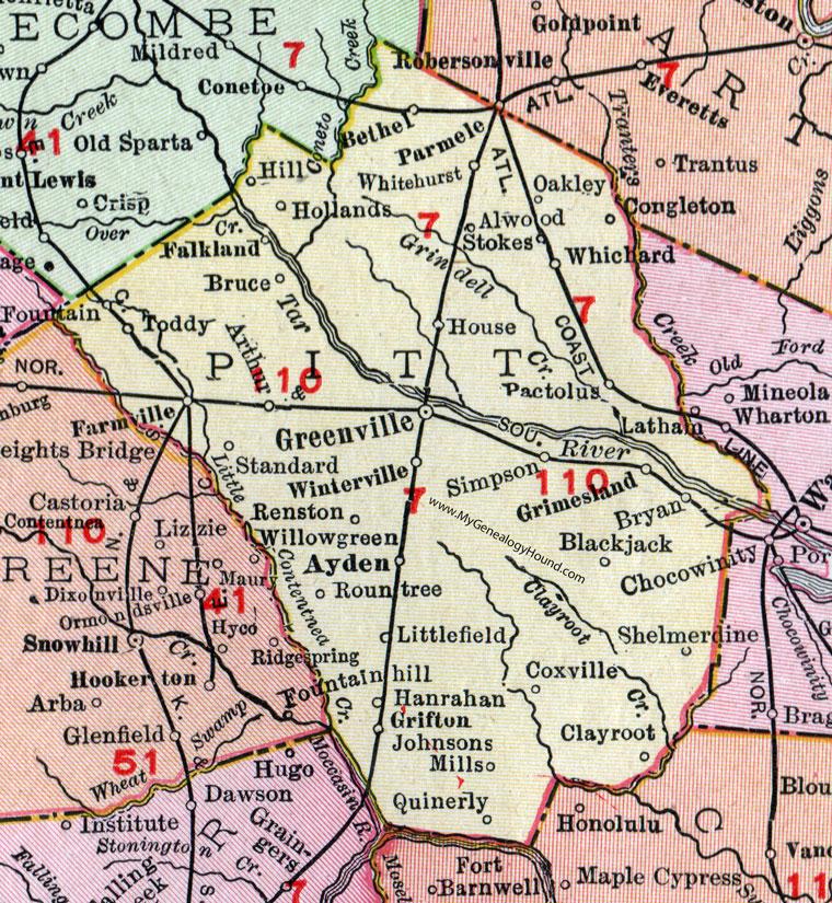 County North Carolina 1911 Map Rand McNally Greenville Bethel