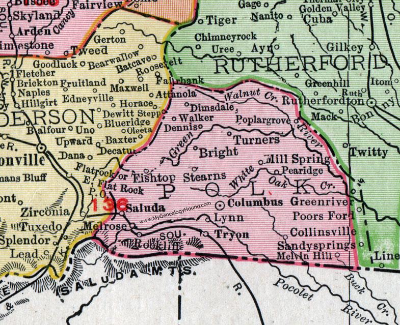 Polk County North Carolina 1911 Map Rand Mcnally Columbus