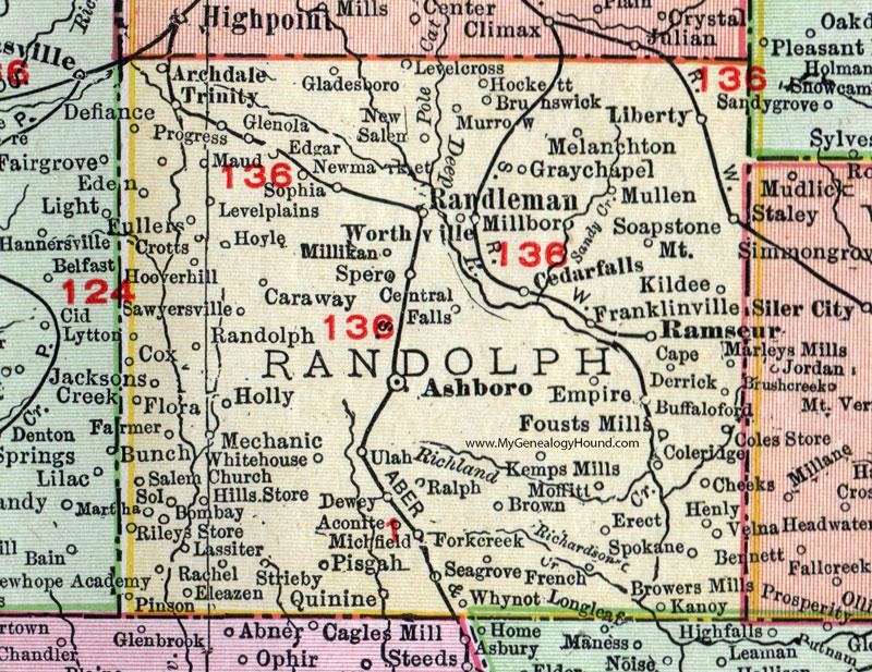 Randolph County, North Carolina, 1911, Map, Rand McNally, Asheboro