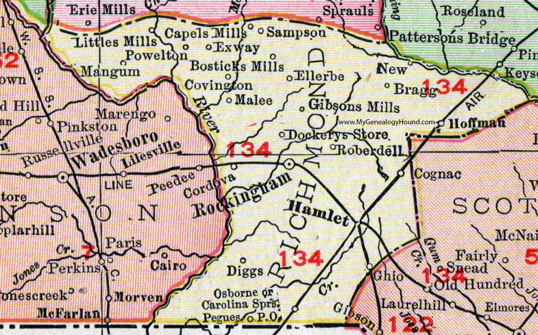Richmond County Nc Map.Richmond County North Carolina 1911 Map Rand Mcnally Rockingham