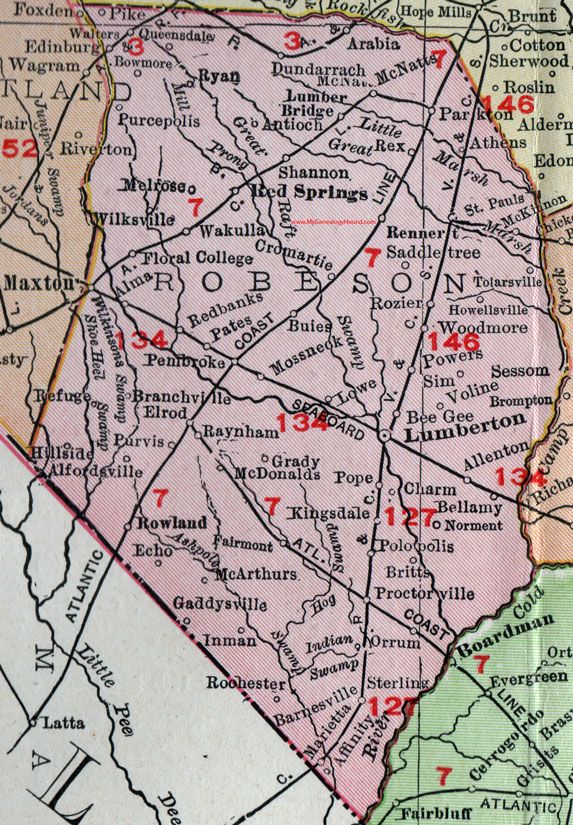 Robeson County, North Carolina, 1911, Map, Rand McNally, Lumberton