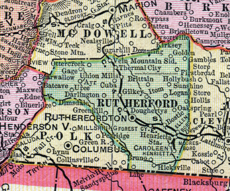 Rutherford County, North Carolina, 1907, Map, Cram, Rutherfordton