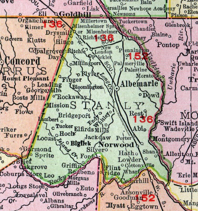 Norwood Nc Map.Stanly County North Carolina 1911 Map Rand Mcnally Albemarle