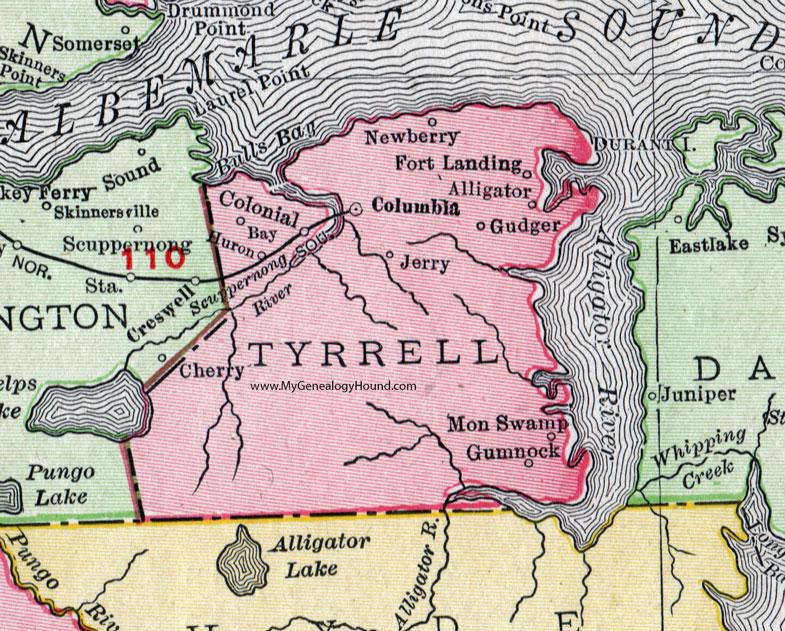 Tyrrell County, North Carolina, 1911, Map, Rand McNally, Columbia