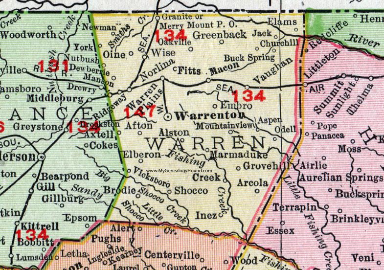Warren County, North Carolina, 1911, Map, Rand McNally, Warrenton ...