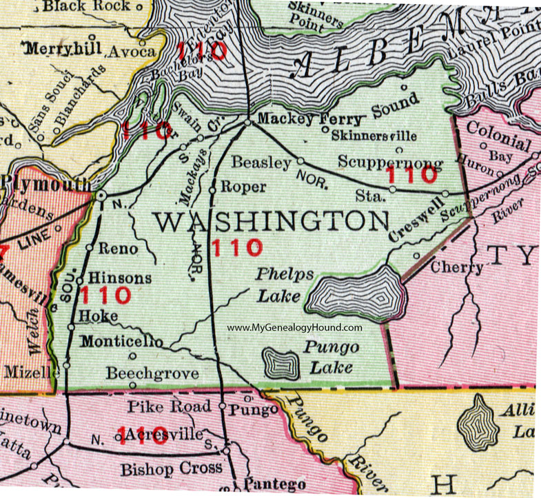 Washington County, North Carolina, 1911, Map, Rand McNally, Plymouth ...