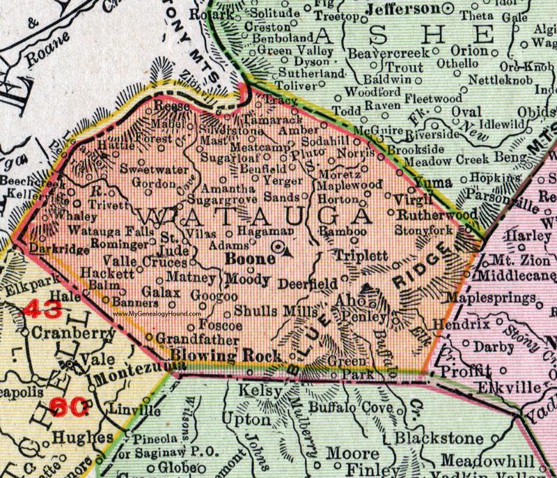 Watauga County, North Carolina, 1911, Map, Rand McNally, Boone ...