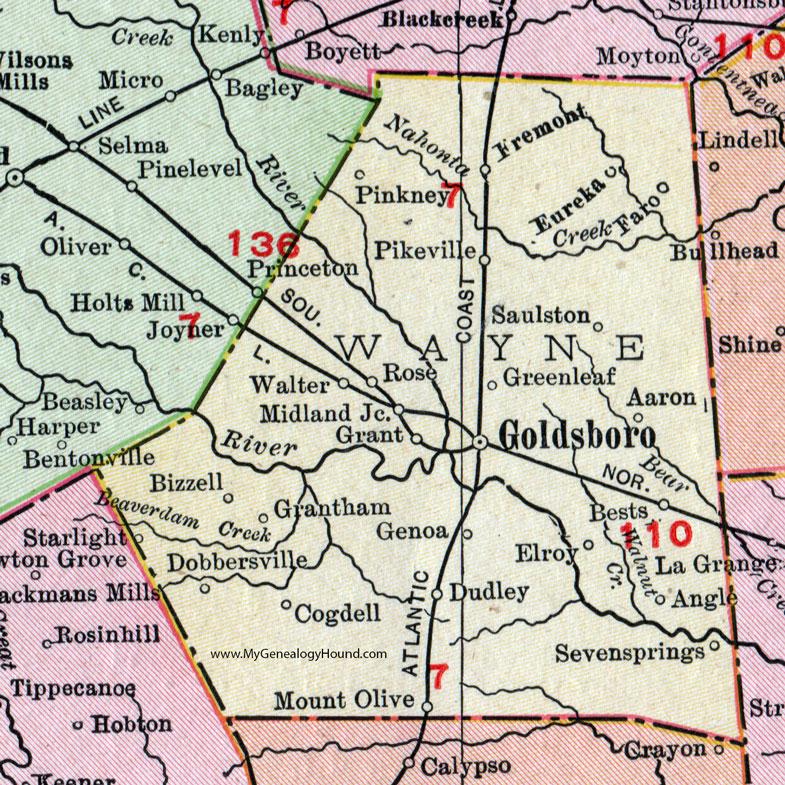 Pikeville Nc Map.Wayne County North Carolina 1911 Map Rand Mcnally Goldsboro