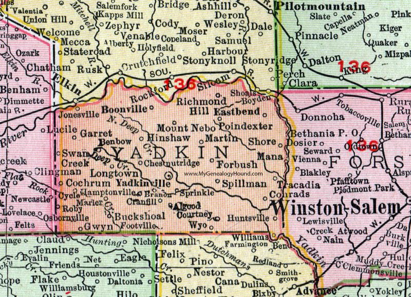 Jonesville Nc Map.Yadkin County North Carolina 1911 Map Rand Mcnally Yadkinville
