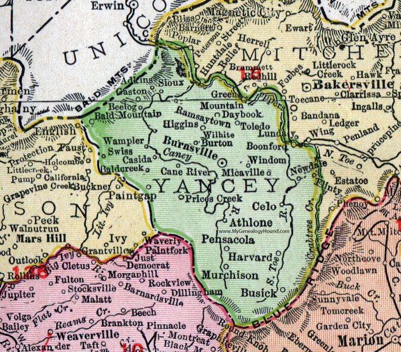 Yancey County, North Carolina, 1911, Map, Rand McNally, Burnsville