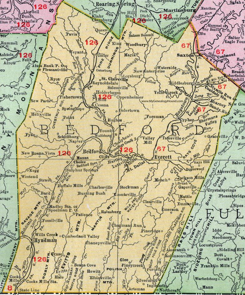 Bedford County Pennsylvania 1911 Map by Rand McNally Everett St