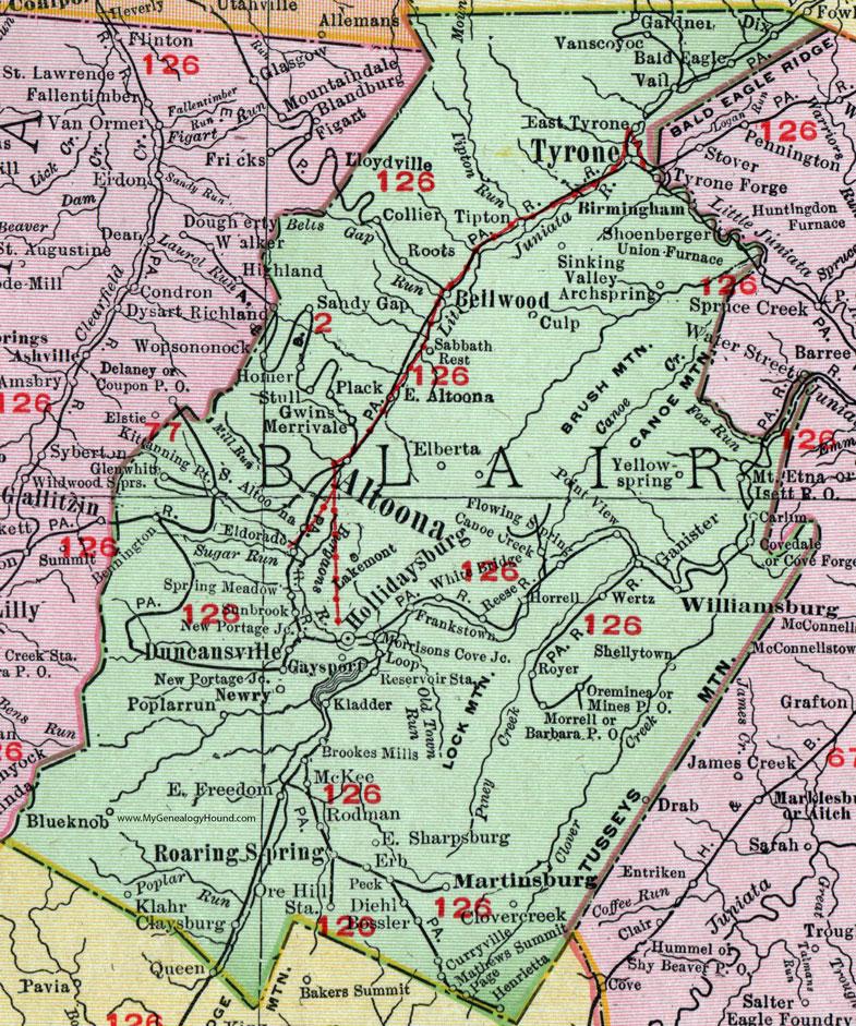 Blair County Pennsylvania 1911 Map by Rand McNally Hollidaysburg