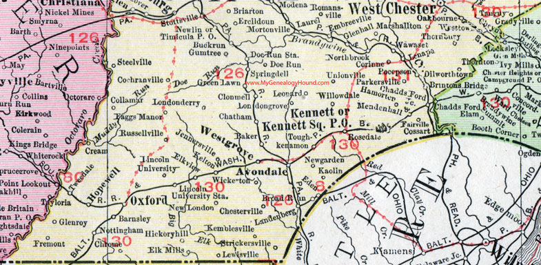 Chester County Pennsylvania 1911 Map by Rand McNally Coatesville