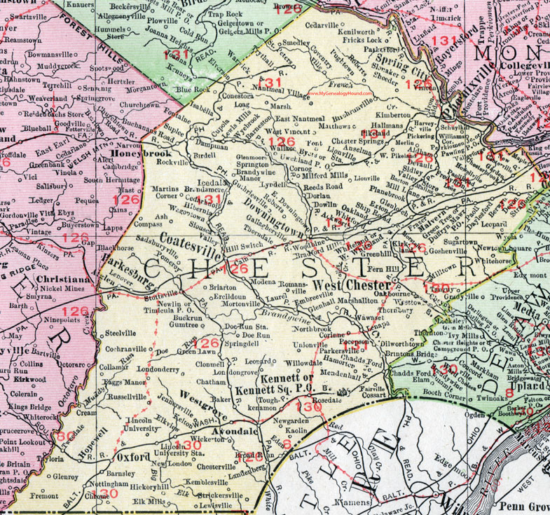 Chester County Pennsylvania Map By Rand McNally Coatesville - Road map of pa
