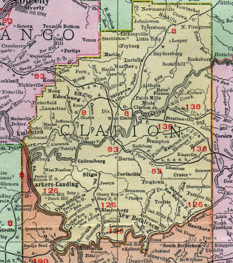 Clarion County, Pennsylvania 1911 Map by Rand McNally, Shippenville on