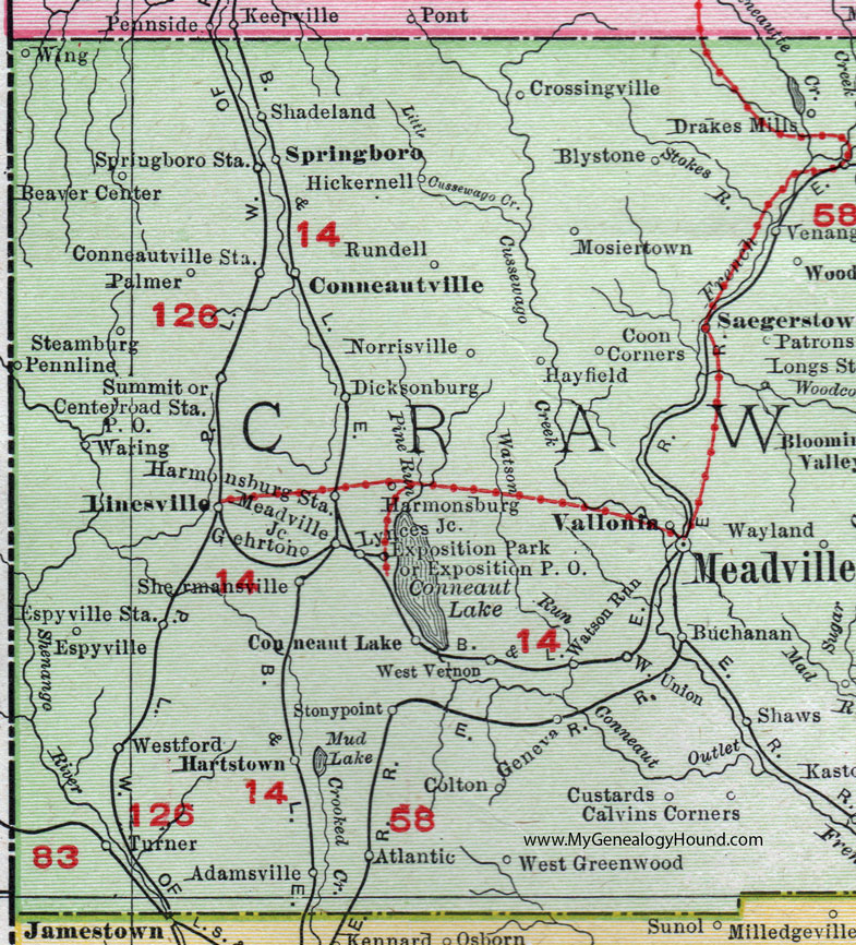 Crawford County Pennsylvania Map By Rand McNally Meadville - Map of western pa