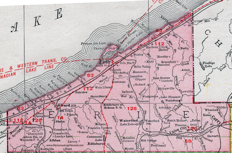 Erie County, Pennsylvania 1911 Map by Rand McNally, Corry, Union ...