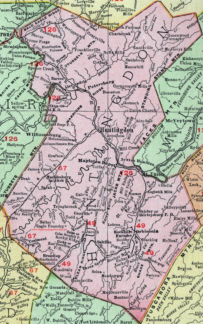 Huntingdon County Pennsylvania 1911 Map by Rand McNally Petersburg