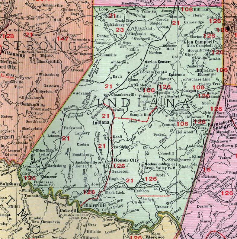 Indiana County Pennsylvania 1911 Map by Rand McNally Glen Campbell