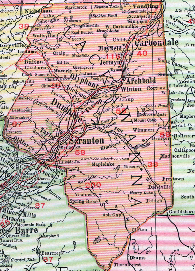 Lackawanna County Pennsylvania 1911 Map by Rand McNally Scranton