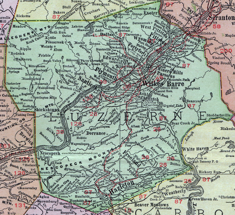 Luzerne County Pennsylvania 1911 Map by Rand McNally Wilkes Barre