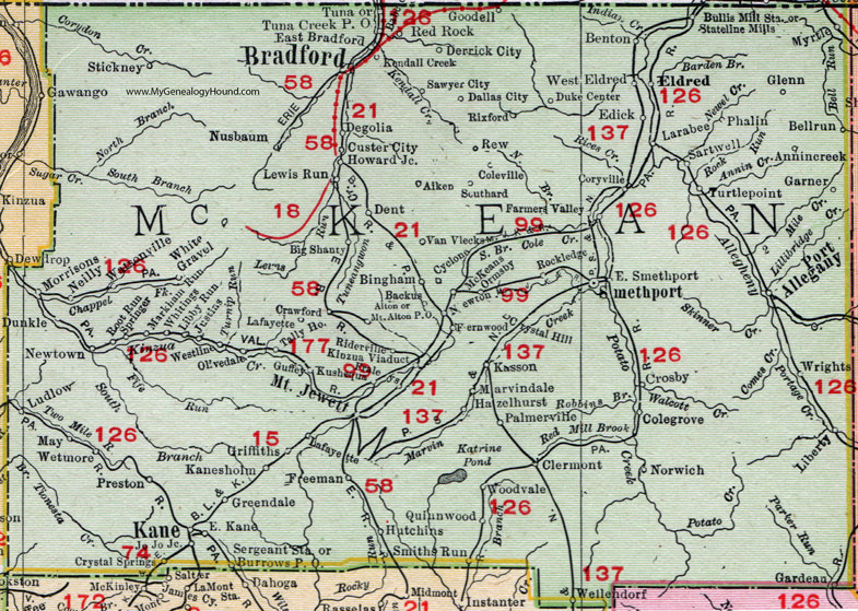 McKean County Pennsylvania 1911 Map by Rand McNally Bradford