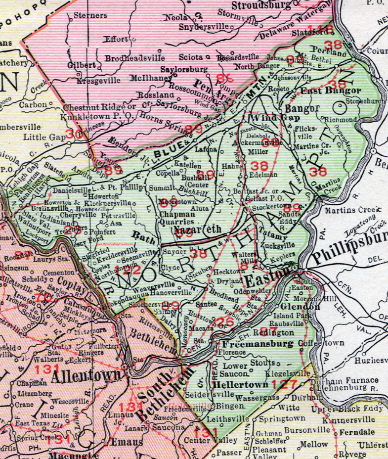 Northampton County Pennsylvania 1911 Map by Rand McNally Easton