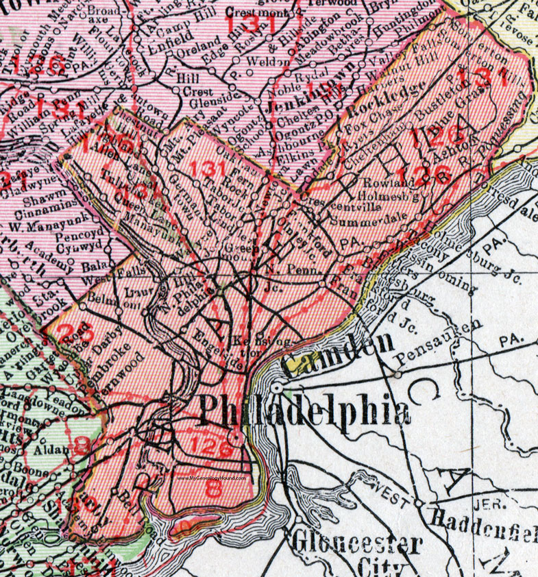 Philadelphia County, Pennsylvania 1911 Map by Rand McNally, PA