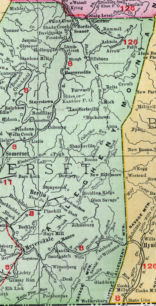 Somerset County Pennsylvania 1911 Map by Rand McNally Berlin