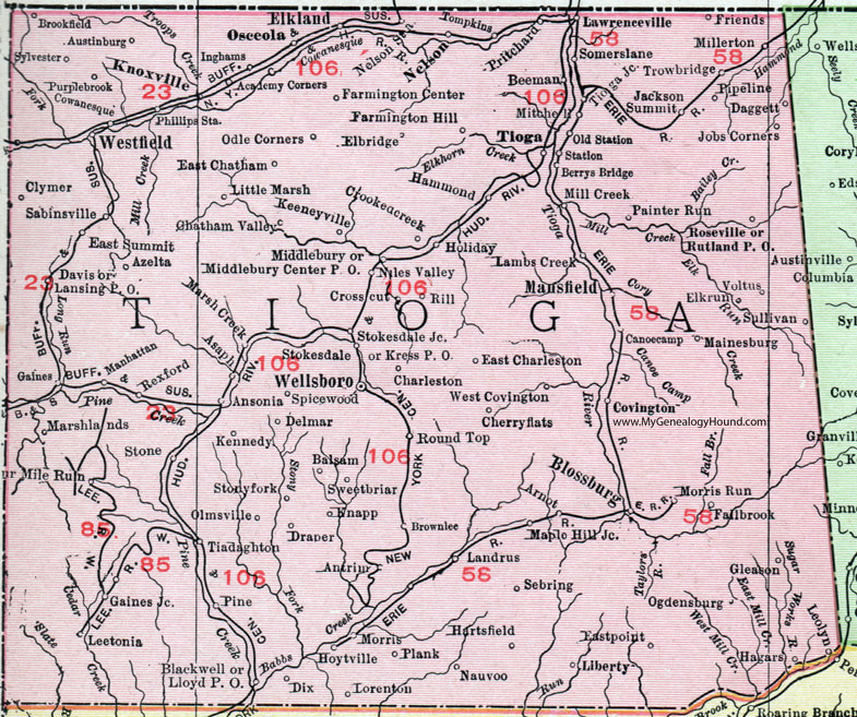Tioga County Pennsylvania 1911 Map by Rand McNally Wellsboro