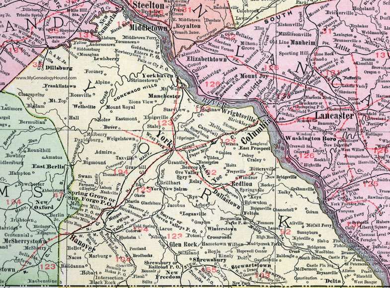york county pennsylvania 1911 map by rand mcnally hanover