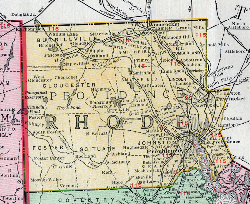 Providence County, Rhode Island, 1911, Map, Rand McNally, Woonsocket ...