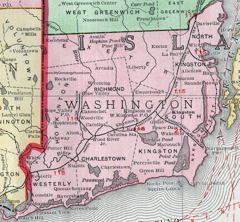 Washington County Rhode Island Map Rand McNally Kingston - Rhode island county map