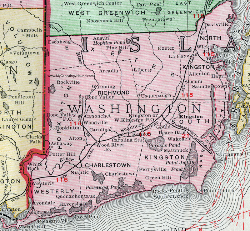 Washington County, Rhode Island, 1911, Map, Rand McNally, Kingston ...