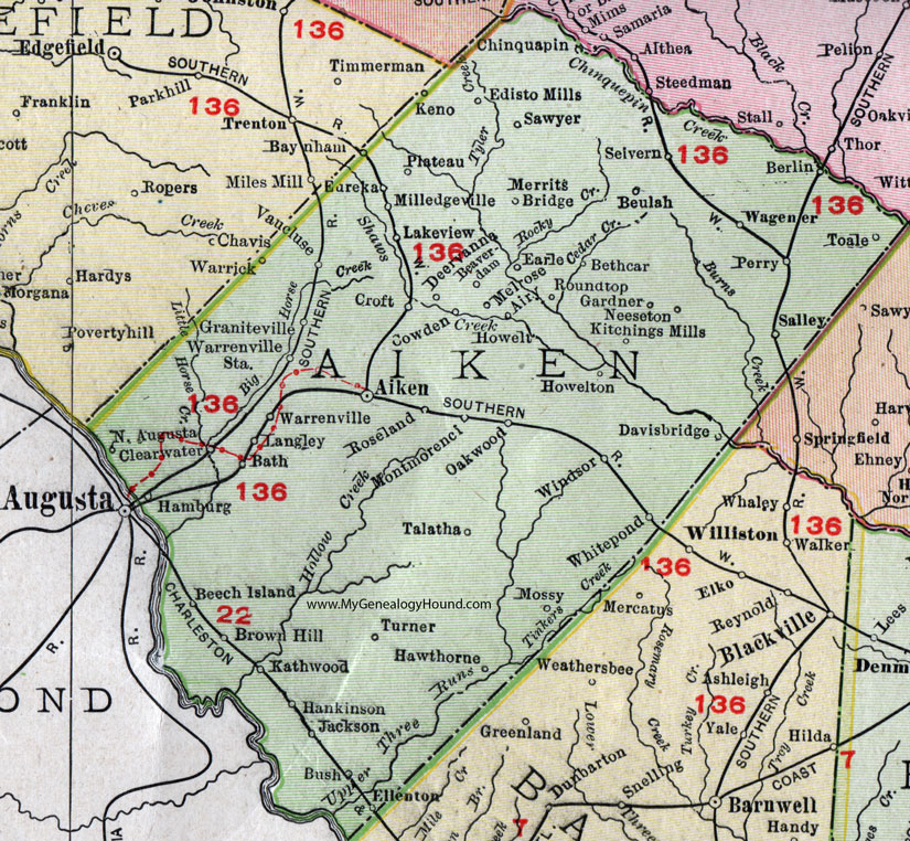 Aiken County South Carolina 1911 Map Rand Mcnally North Augusta