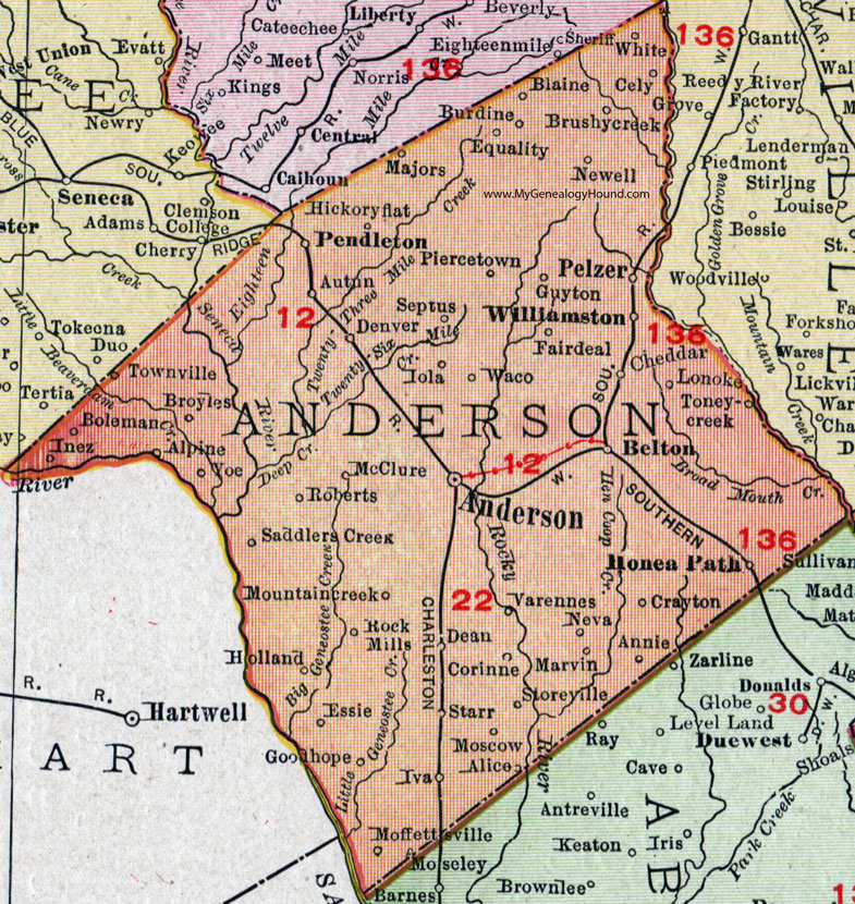 Anderson Sc Map My Blog - South carolina county map