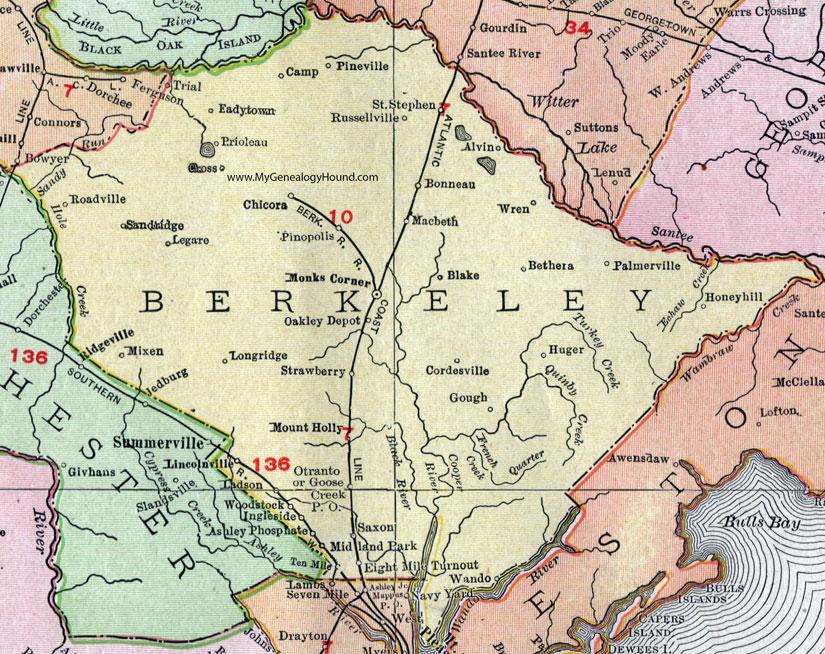 Berkeley County South Carolina 1911 Map Rand McNally Moncks