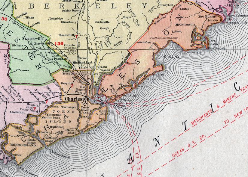 South Carolina Map Islands.Charleston County South Carolina 1911 Map Rand Mcnally Mt